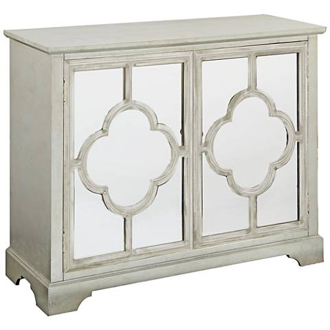 Camille Silver and Quatrefoil Mirrored 2-Door Accent Cabinet