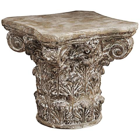 Apollos Textured Graystone Greek Capital Accent Table