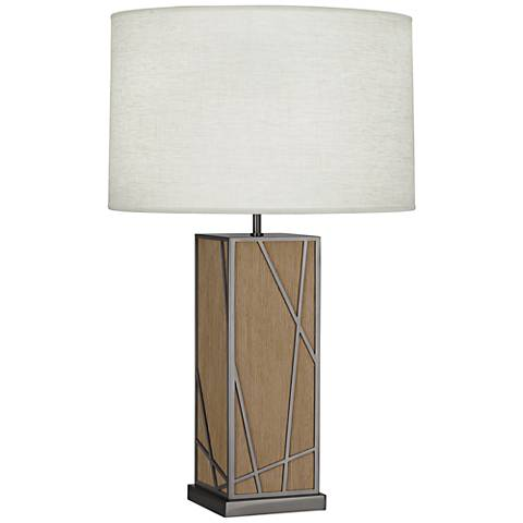 Michael Berman Kerr Oak Wood Table Lamp with Oyster Shade