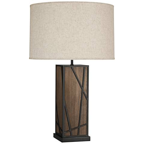 Michael Berman Kerr Walnut Wood Table Lamp w/ Heather Shade