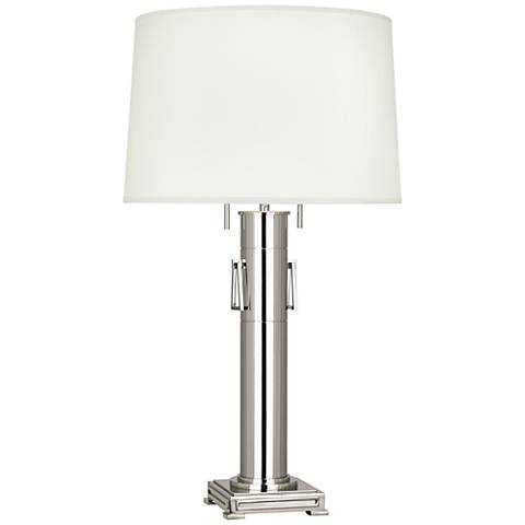 Robert Abbey Athena Polished Nickel Column Table Lamp