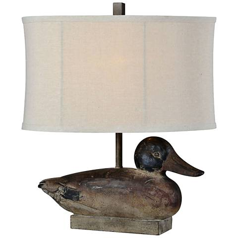"Duck Decoy Weathered Woodgrain 19 1/2""H Accent Table Lamp"