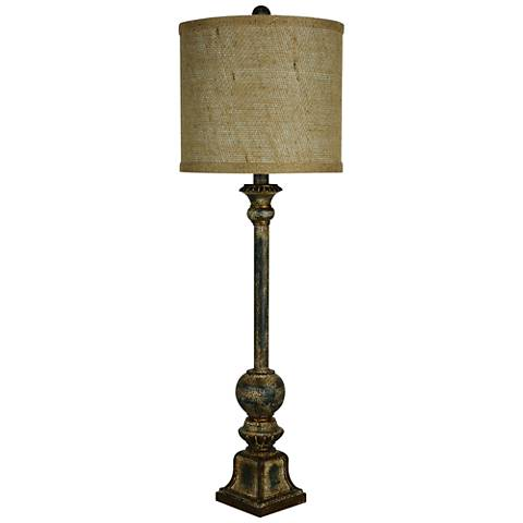 Forty West Kendrick Teal Distressed Candlestick Buffet Lamp