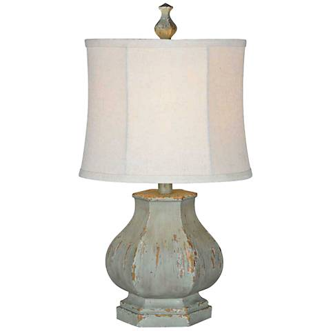 Forty West Fiona Distressed Seafoam Blue Table Lamp