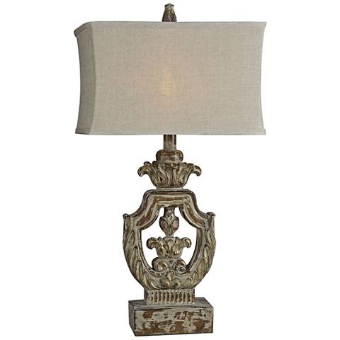 Forty West Isabella Aged Woodgrain Antique French Table Lamp