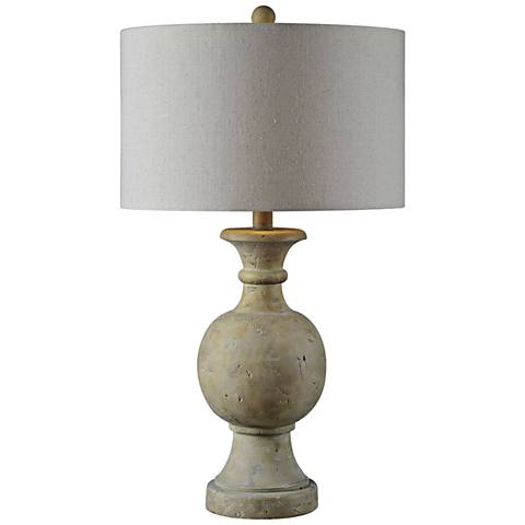 Forty West Ellis Natural Carved Faux Stone Table Lamp