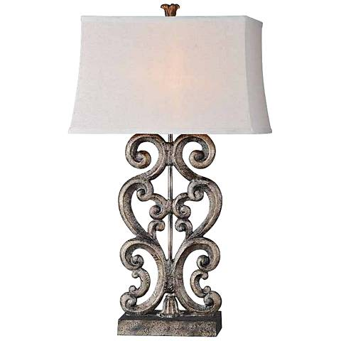Forty West Amanda Aged Bronze Large Scroll Table Lamp