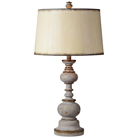 Forty West Nancy Distressed Graywash Candlestick Table Lamp