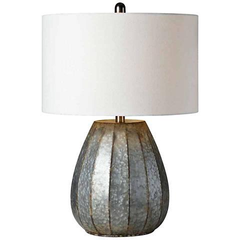 Forty West Rhett Galvanized Ribbed Metal Table Lamp