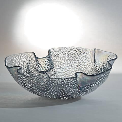 Pebbled Ruffle Clear Hand-Made Round Italian Art Glass Bowl
