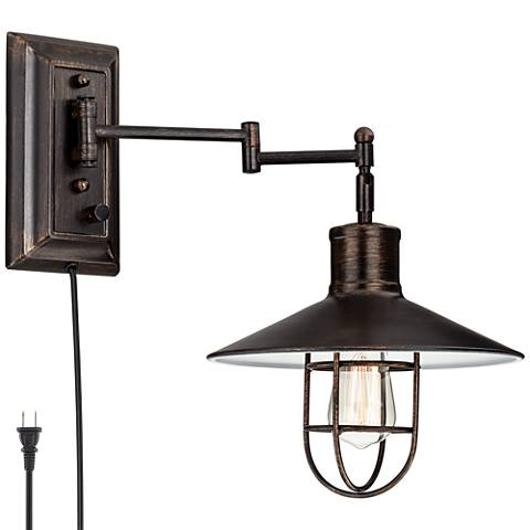 Hektor Brushed Bronze Plug-In Swing Arm Wall Lamp