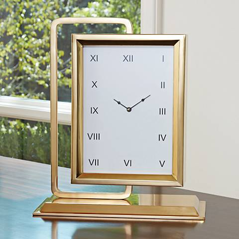 "Time to Reflect 18 1/2"" High Brass Swivel Clock with Mirror"