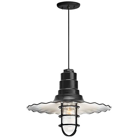 "Radial Wave 7"" High Black Outdoor Hanging Light"
