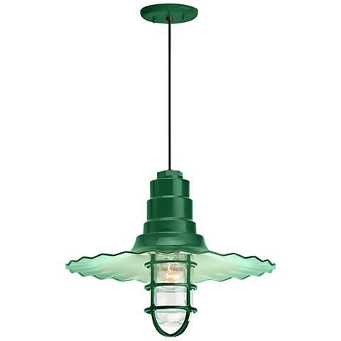"Radial Wave 7"" High Hunter Green Outdoor Hanging Light"