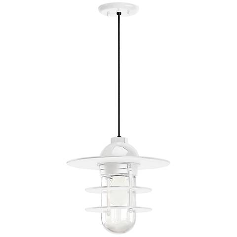 """Retro Industrial 9"""" High Gloss White Outdoor Hanging Light"""