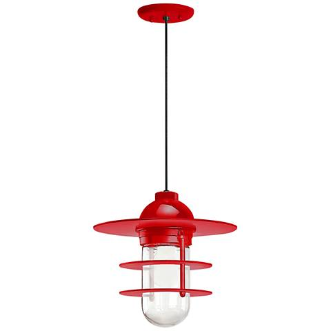 "Retro Industrial 9"" High Red Outdoor Hanging Light"