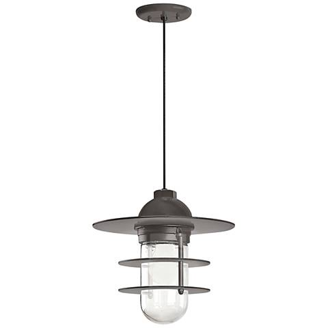 "Retro Industrial 9""H Textured Bronze Outdoor Hanging Light"