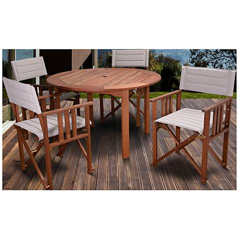 Via Alcazar Khaki 5-Piece Round Outdoor Patio Dining Set