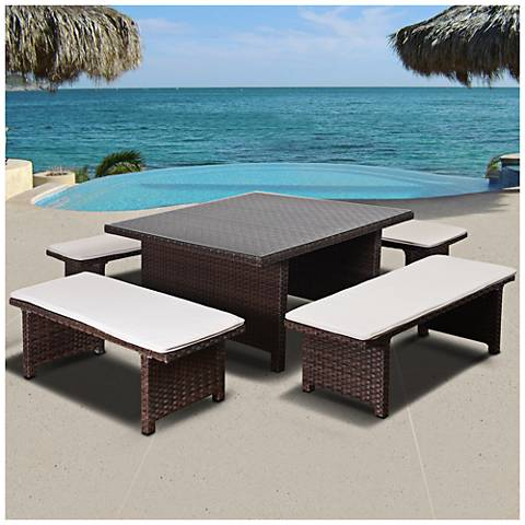 Maryland Brown Wicker 5-Pc. Low-Height Patio Dining Set