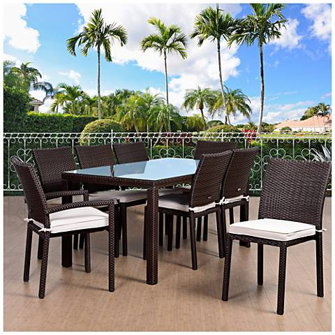 Vicento Brown Wicker 9-Piece Off-White Patio Dining Set