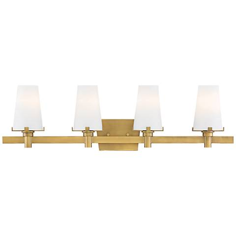 "Hyde Park 32"" Wide Vintage Gold 4-Light Bath Light"