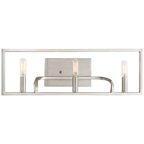 "Uptown 24"" Wide Satin Platinum 3-Light Bath Light"