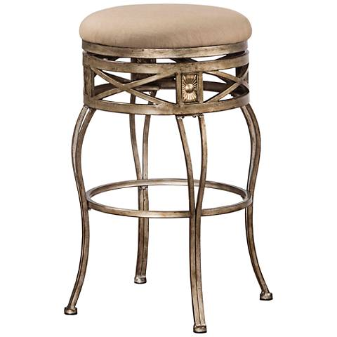 "Hillsdale Callen 26"" Taupe Swivel Outdoor Counter Stool"