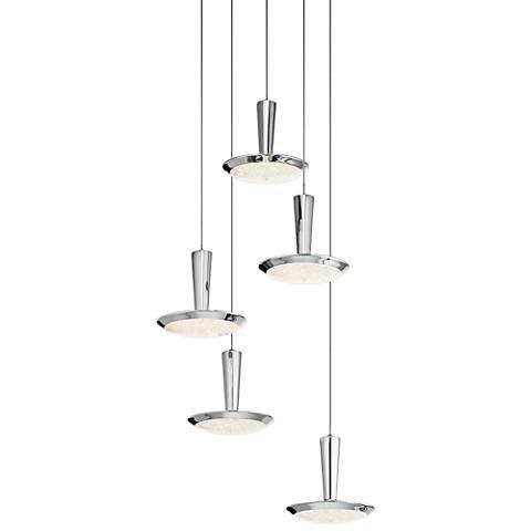 """Elan Karah 17 3/4"""" Wide Chrome LED Multi Light Pendant"""