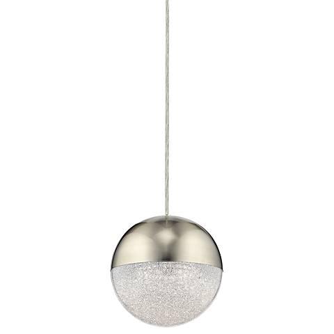 """Elan Moonlit 7 3/4"""" Wide Brushed Nickel LED Mini Pendant"""