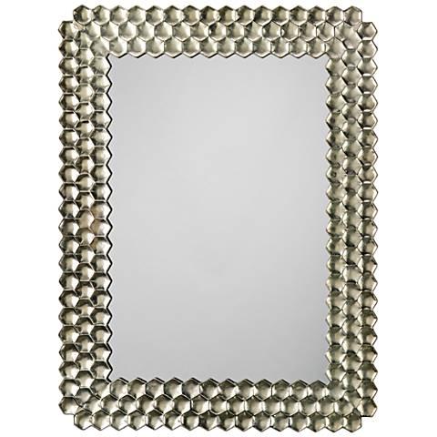 "Honeycomb Champagne 39 1/4"" x 29 1/2"" Wall Mirror"
