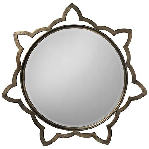 "Jamie Young Sante Antique Silver 36"" Round Wall Mirror"