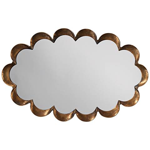 """Jamie Young Scallop Antique Brass 23"""" x 36"""" Wall Mirror"""
