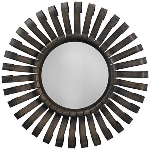 "Jamie Young Scroll Gunmetal 26"" Round Sunburst Wall Mirror"