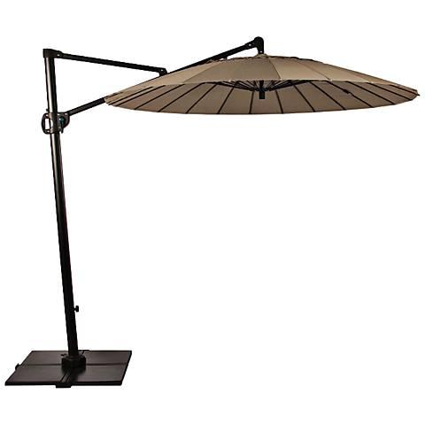 Malibu Bliss 8 1/4-Foot Taupe Cantilever Umbrella w/ Base