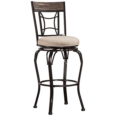 Hillsdale Kent Ash Fabric Swivel Outdoor Counter Stool
