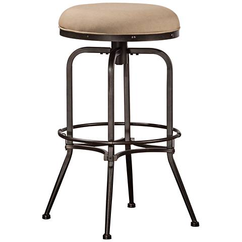 "Hillsdale Polston 26"" Taupe Swivel Outdoor Counter Stool"