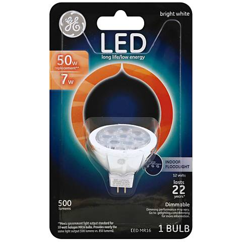 50 Watt Equivalent GE 7 Watt LED Dimmable MR16 Bulb