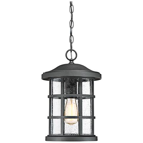 "Quoizel Crusade 15 1/2""W Earth Black Outdoor Hanging Light"