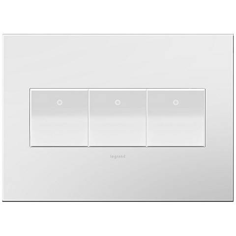 adorne Gloss White-on-White 3-Gang Wall Plate w/ 3 Switches