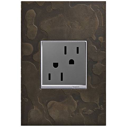adorne Hubbardton Forge Dark Smoke 1-Gang Wall Plate w/ Outlet