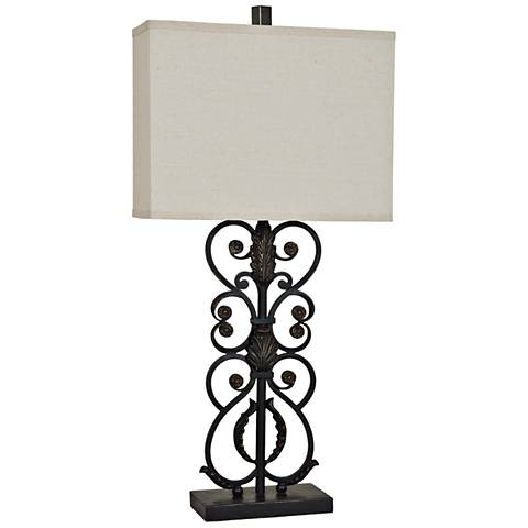 Crestview Collection Wavarro Metal Antique Iron Table Lamp