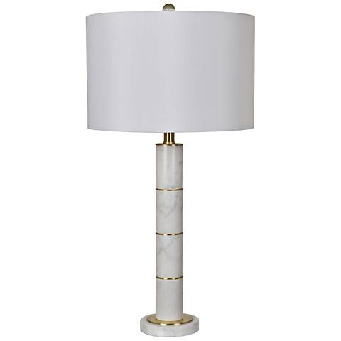 Crestview Collection Farallon White Marble Column Table Lamp