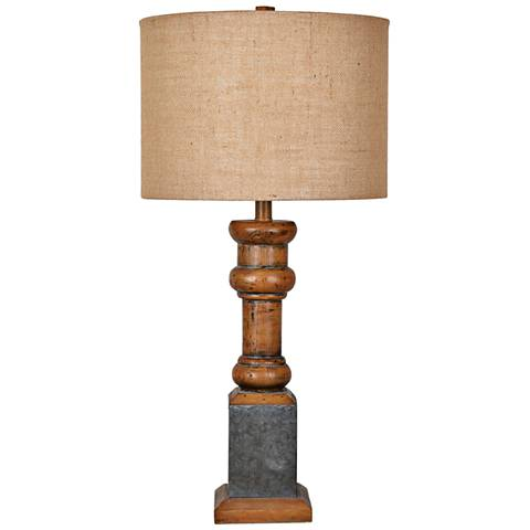 Heirloom Antique Pine and Galvanized Metal Table Lamp