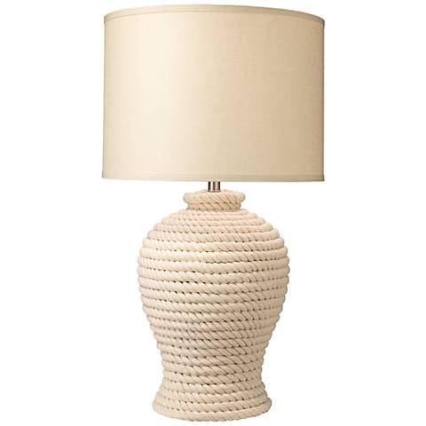 Jamie Young Poseidon White Rope Jug Table Lamp