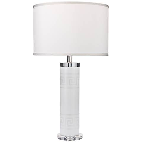 Jamie Young Meandros White Glass Etched Greek Key Table Lamp