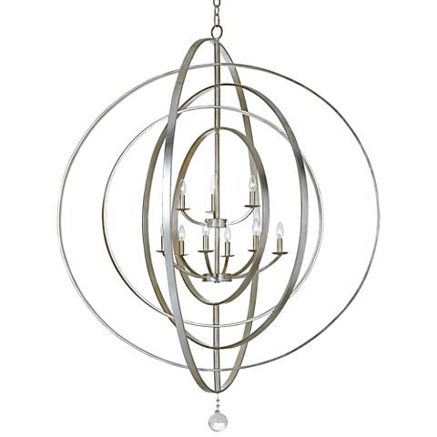 "Crystorama Luna 48"" Wide Antique Silver 9-Light Chandelier"