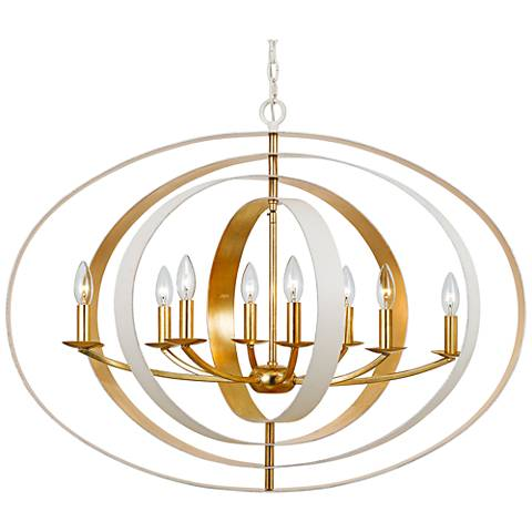 "Crystorama Luna 36""W Matte White and Gold 8-Light Chandelier"
