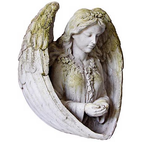 """Moss White Angel 11"""" High Outdoor Birdfeeder"""