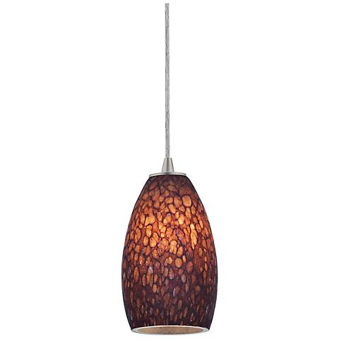 Sydney Collection Brushed Steel - Brown Stone Mini Pendant