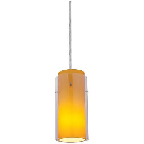 Sydney Cylinder Brushed Steel - Clear-Amber Mini Pendant